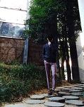 남자 핑크 베이지 슬랙스 코디 [모노소잉] 슬랙스 : 남자 터틀넥 니트 코디 with 남자 니트 가디건 코디