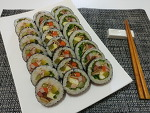 텃밭에서 따온 가을상추로 만든 '상추김밥'