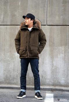 남자 겨울 패션 아우터 라쿤 패딩과 셀비지 데님 코디