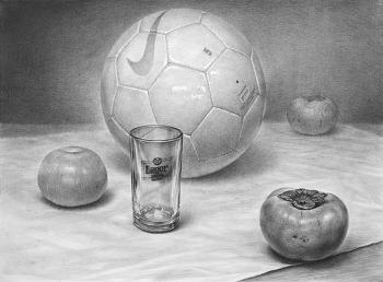 [정물소묘 / 과정작] 축구공, 유리컵, 감 3개, 흰 천