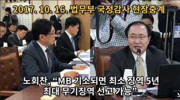 """[국감영상] 노회찬, """"MB 기소되면 최소 징역 5년, 최고 무기징역 선고 가능"""""""