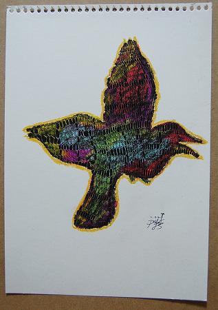 [지후나무작업실]오일파스텔일러스트- 뱀피염색한 새