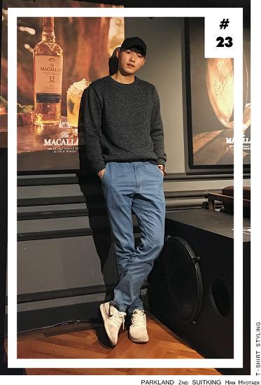 [2017남자봄코디]수트지존 한효택 데일리룩_제이하스 네이비 맨투맨 스타일링