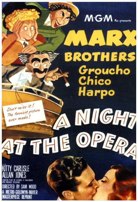 오페라의 밤(A Night At The Opera)... 샘 우드, 에드워드 굴딩, 막스브라더스... 시대를 앞서간 코미디영화 한밤의 오페라