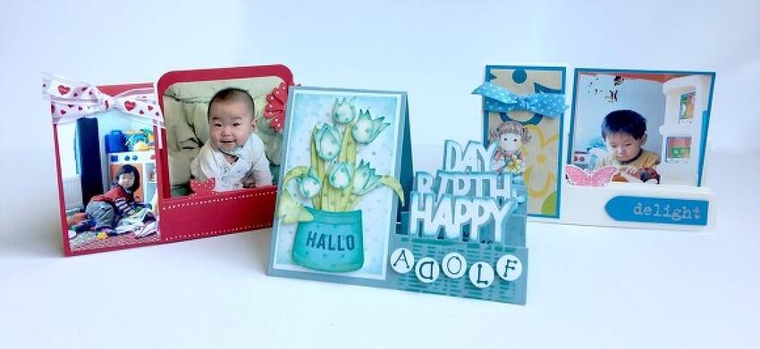 파란색톤 생일카드