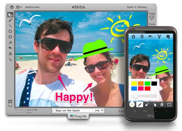맥용 스키치(Skitch)와 안드로이드 앱 모습