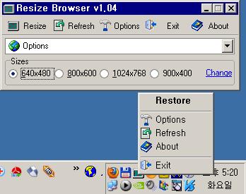 Resize Browser v1.04 실행 화면 : 영어/로마자
