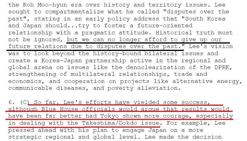 위키리크스 이명박 독도문제