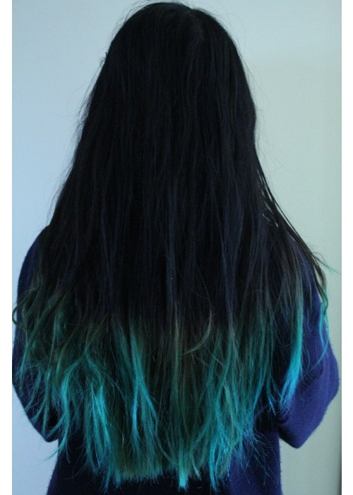 Black hair with blue dip dye