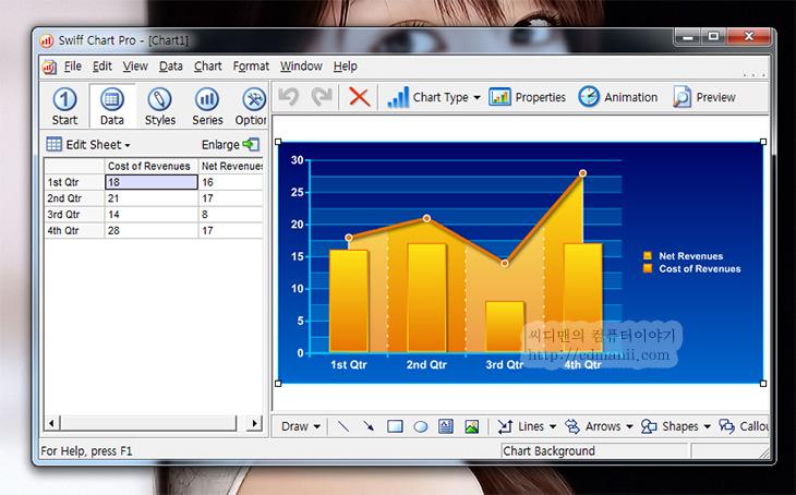 Swiff Chart Pro 3 포터블 다운로드, IT, 다운로드, 벤치마크, 차트, Chart, SwiffChart, Download,Swiff Chart Pro 3 포터블 다운로드는 오른쪽 사이드바에서 가능 합니다. 하드웨어 리뷰를 하거나 할 때 벤치마크 된 내용을 차트화 해야할 경우가 있는데 이럴 때 Swiff Chart Pro 는 상당히 편리 합니다. 플래시로 출력이 가능해서 좀 더 다이나믹한 차트도 만들 수 있습니다. 설치형 프로그램도 있지만 포터블은 그냥 실행시키면 바로 사용 할 수 있는 상태가 되므로 편리한데요. 모두 영문으로 되어있긴 하지만 마법사 진행 방법으로 되어있어서 결과물을 만드는데 까지 몇단계만 거치면 되고 엑셀을 읽어서 차트를 만들 수 도 있어서 사용은 편리한 편 입니다.