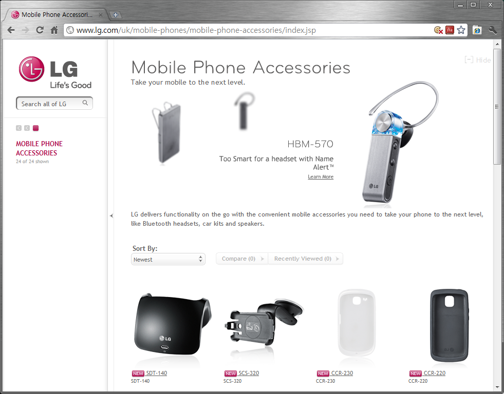 Screenshot from LG Website on Mobile Phone Accessories