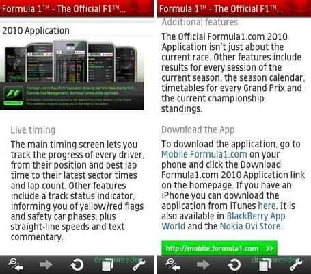 Formula One(F1) 2010 App 어플 리뷰 (노키아 심비안)
