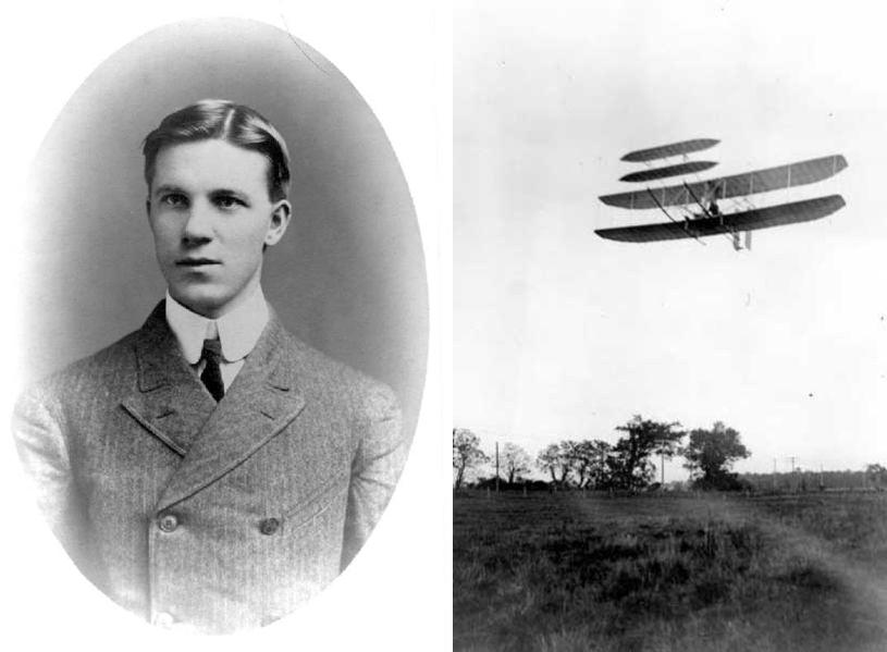Charles Furnas와 그가 처음 탑승했던 Wright Flyer III (출처: 라이트 항공회사 기념 홈페이지)