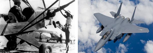 시동을 거는 L-4 연락기(좌)와 대한민국 공군의 주력기 F-15K(우)
