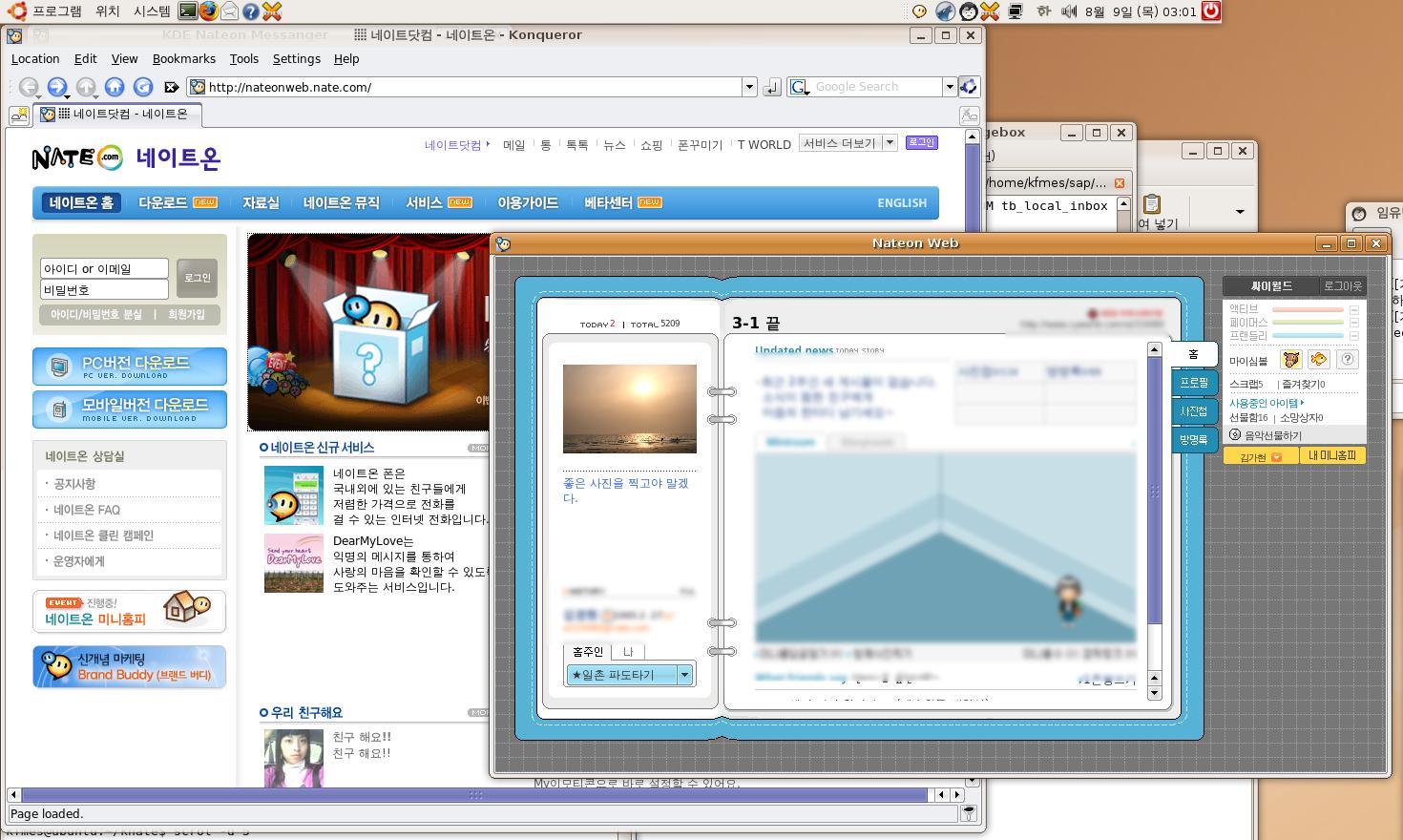 미니홈피 및 웹브라우징