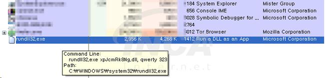 [그림 3] rundll32.exe 를 통한 랜섬웨어 실행