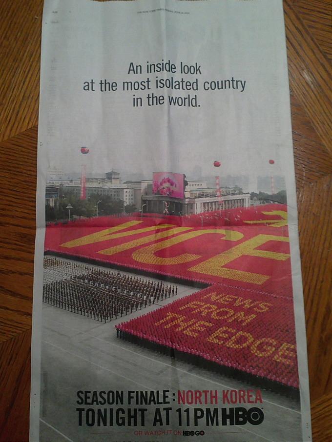 HBO,오늘밤 '가장 고립된 북한'특집방송 - 오늘자 뉴욕타임스 백면에 전면광고