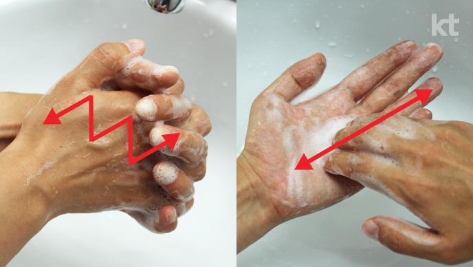 올바른 손씻기 : 깍지낀 상태로 손바닥을 여러번 비비고, 손톱 밑을 손바닥에 비벼서 닦는다