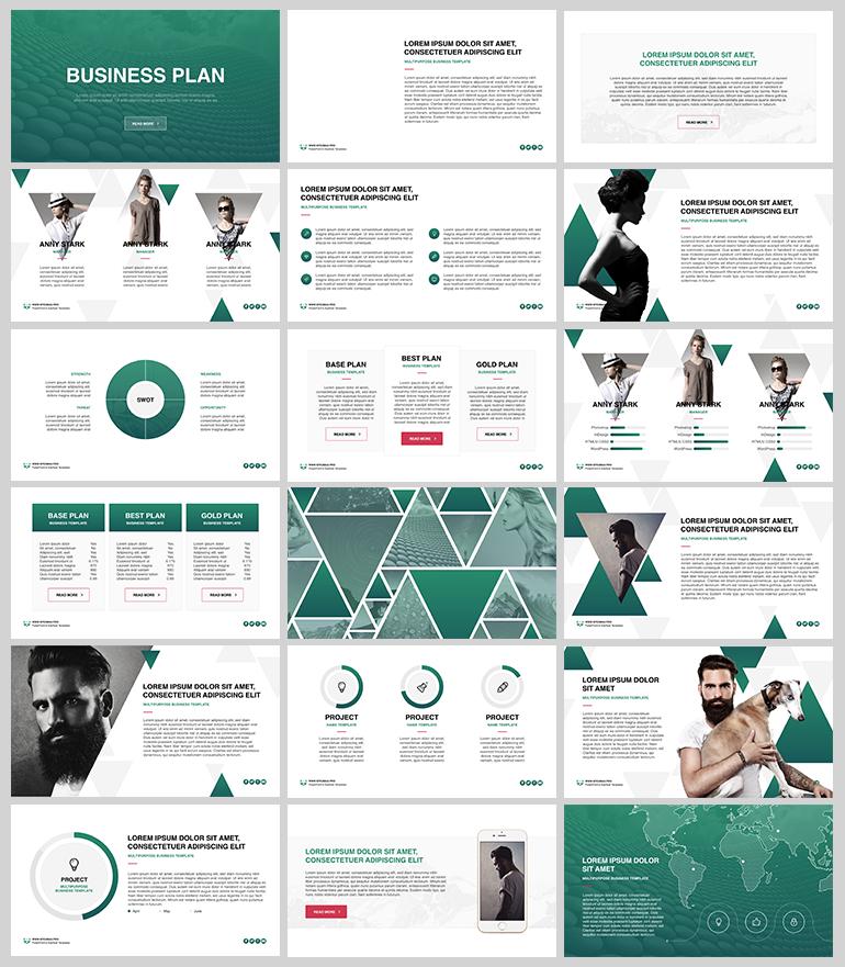 그린 컬러를 포인트로 사용한 PPT 템플릿 - Free Green PowerPoint Template For Business Plan