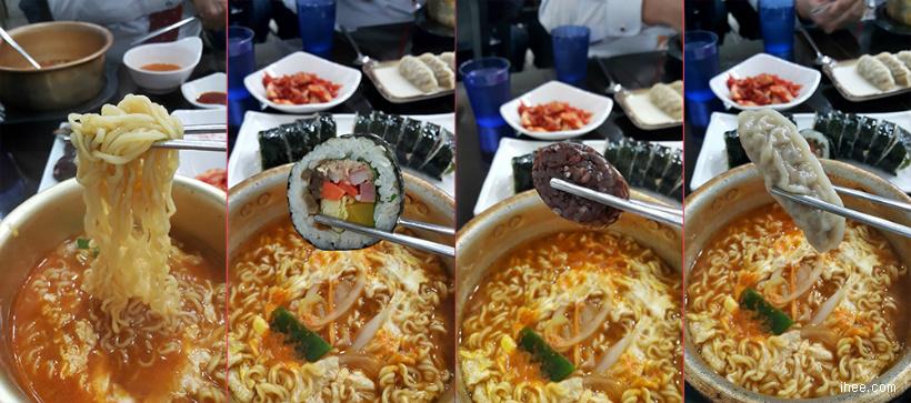 김이랑 라면과 여러가지 음식 함께 먹기