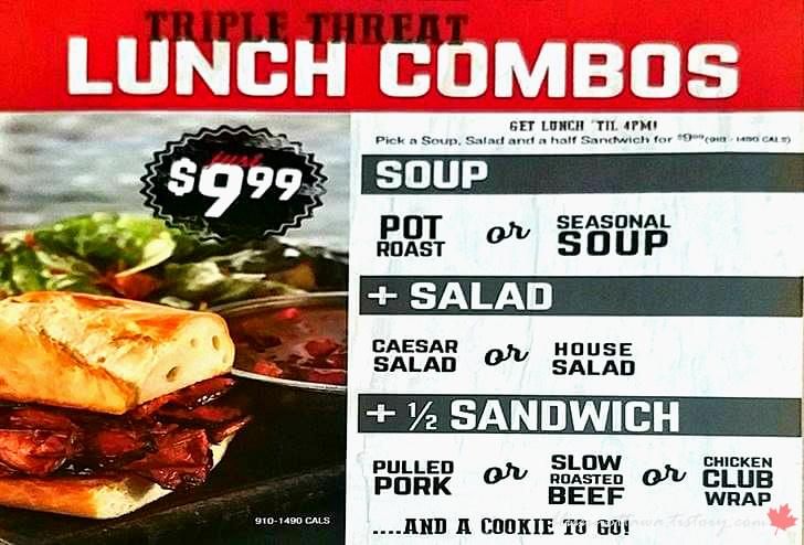 캐나다 몬타나 점심 콤보 메뉴입니다