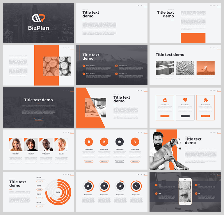 오렌지 컬러를 포인트로 사용한 PPT 템플릿 - Free Orange & Grey PowerPoint Template For Business Plan
