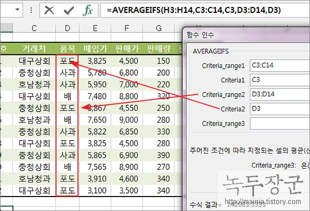 엑셀 Excel 함수 AVERAGEIFS 이용해 다중 조건 평균 구하는 방법