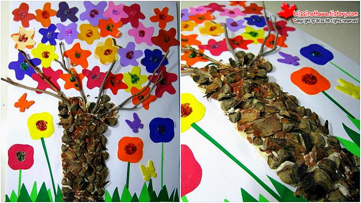 엄마표 유아 미술놀이 밀가루 반죽과 솔방울로 꽃나무 표현하기