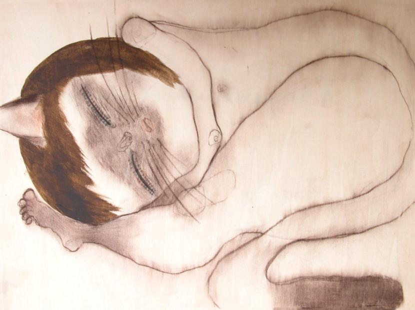 언니냐옹 _ conte, acrylic on wood _ 30×22 _ 2006 (Sold Out)