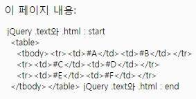 jQuery html() 결과
