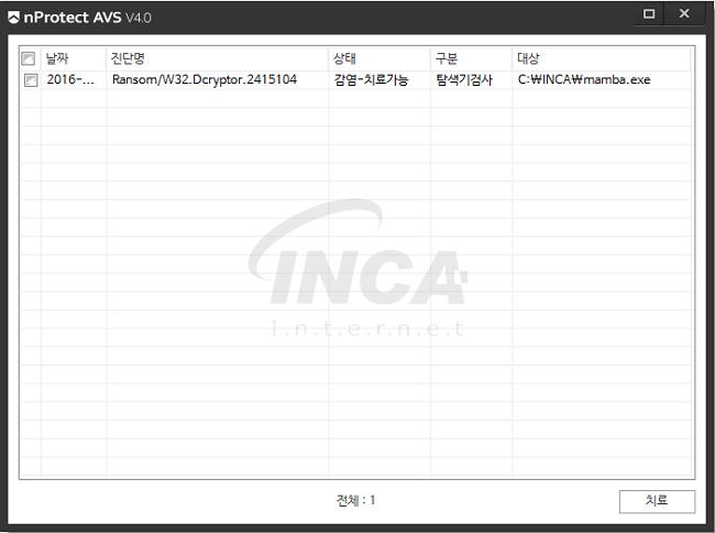 [그림 7] nProtect Anti-Virus/Spyware V4.0 진단 및 치료 화면