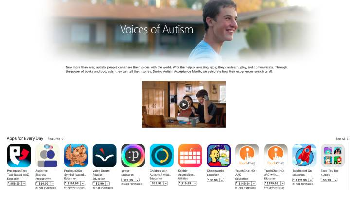 애플, 아이패드, 광고, 자폐증, 딜란, 딜런, 인정의달, 프로모션, 앱스토어, 광고속앱, 앱, assistiveexpress