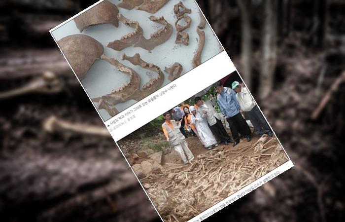 사진: 오마이뉴스 윤성효의 마산 여양리 뼈무덤 보도사진. 여양리 학살사건이 지난지 50여년 만에 햇빛을 본 유골들이다. 그 자손들은 지금도 억울해 하고 있다. [보도연맹 학살사건의 진실]